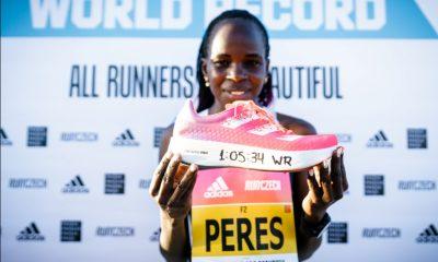 Peres Jepchirchir smashes the women's only half marathon record wearing adidas adizero adios pro 3