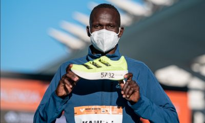Kibiwott Kandie breaks the Half Marathon World record wearing adidas adizero adios Pro