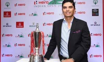 Golfer Ajeetesh Sandhu with the Hero Indian Open trophy
