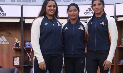 Dipika Pallikal, Swapna Barman & Simranjit Kaur at the launch of VRCT Jacket
