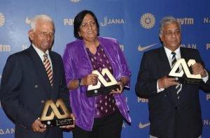 Former India cricketers Padmakar Shivalkar, Shantha Rangaswamy and Rajinder Goel during the BCCI Annual awards in Bengaluru on March 8, 2017.
