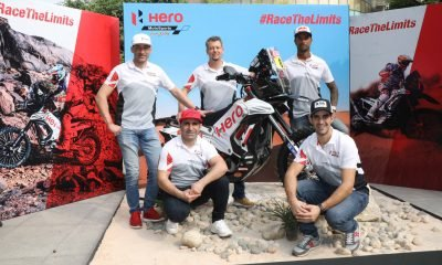 Wolfgang Fischer, Team Manager, Hero MotoSports Team Rally along with Hero MotoSports Team Rally riders: Pan Africa Rally winner - Joaquim Rodrigues; Indian Ace rider - CS Santosh; Dakar Rookie of the Year 2017 - Oriol Mena and the newest addition, Former World Rally Champion - Paulo Goncalves