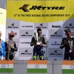 The podium ceremony at the JK Tyre Suzuki Gixxer Cup