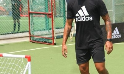 Indian Footballer, Robin Singh shares skills with the kids during the launch of adidas Tango League in Mumbai